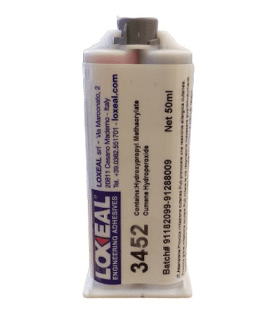 Loxeal 3452 is a two component, toughened, low odour acrylic adhesive, suitable for bonding metals, ceramics, GRP, wood, hard plastics