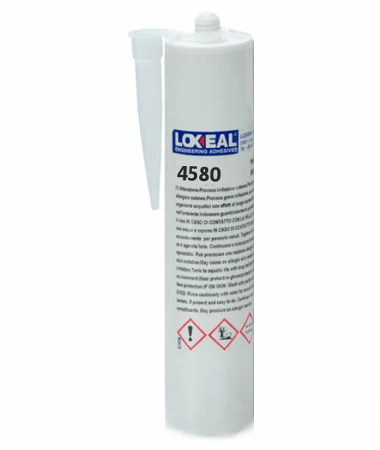 Loxeal 4580 is a single part, heat cure epoxy adhesive, that bonds, metals, ferrite, ceramics, and composite materials, can re