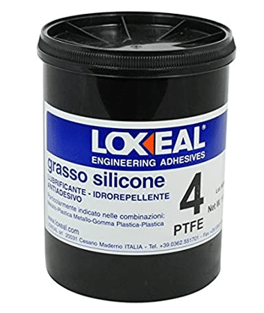Loxeal silicone grease 4 is a PTFE based silicone lubricant suitable for lubrication of metals, plastic rubber parts, has good electrical insulation properties, can be sued in contact with portable water, NSF approved.