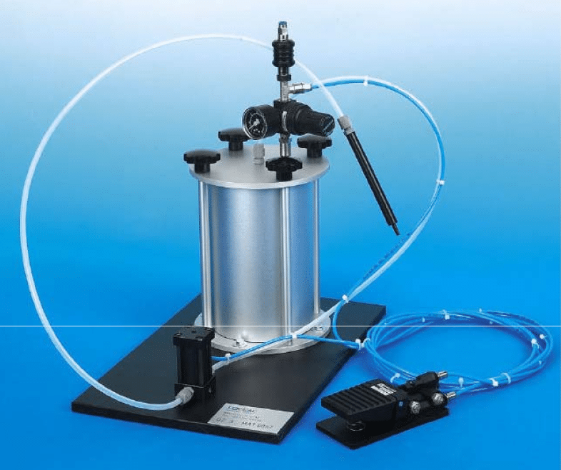 Pneumatic dosign unit for dispensing of anaerobic and cyanoacrylate adhesives. Equipped with foot switch.