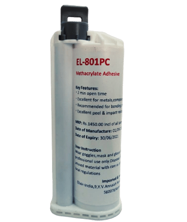 EL-801PC is a 10:1 mix two component methacrylate adhesive formulated for the demanding needs of structural bonding applications in engineering,composites,IOT and automotive industry