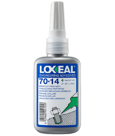 Loxeal 70-14 is high strength thread locker, with capillary action, can also be used for porosity filling and post thread locking applications