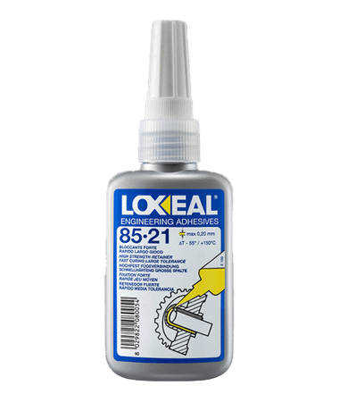 Loxeal 85-21, high strength retaining compound, retaining of cylindrical parts, retains rotor to shaft, bearing to housing, replaces, keyways, approved for gas-Gaz de France