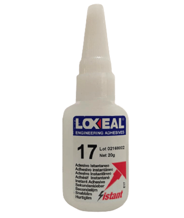 Loxeal IS17, instant adhesive based on methyl cyanoacrylates, recommended for bonding metal, regid materials, ceramics, rubber and plastic to metal, fills large gaps.