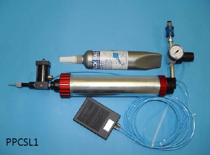Hand held thread sealant dispenser, dispensing controlled by foot switch
